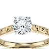 Hand Engraved Solitaire Engagement Ring in 18K Yellow Gold